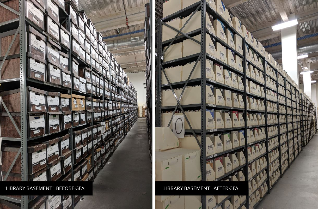 basement before and after high density shelving