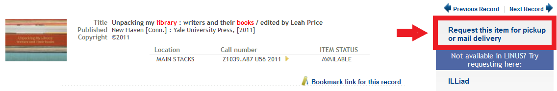 Item record for a book with highlighted section for Request this item for pickup or mail delivery link