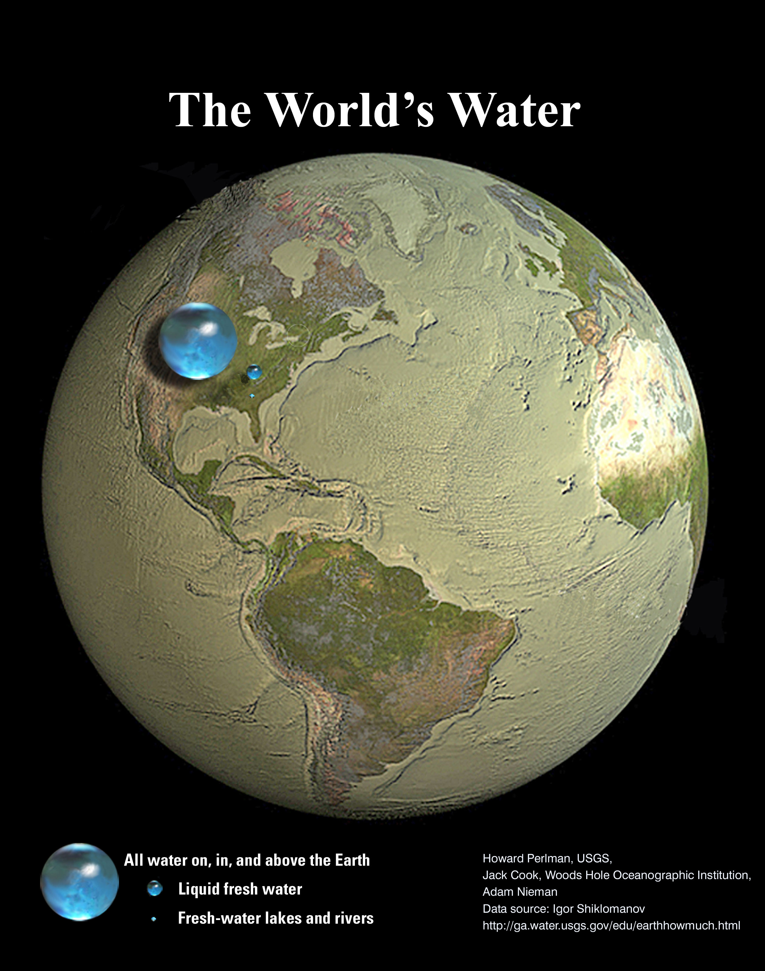 Graphic depicting the earth from space with all of earth's water represented in a single sphere. The sphere's diameter spans part of the United States. The earth's fresh water is represented by a much smaller sphere, roughly 3% the size of the larger sphere.