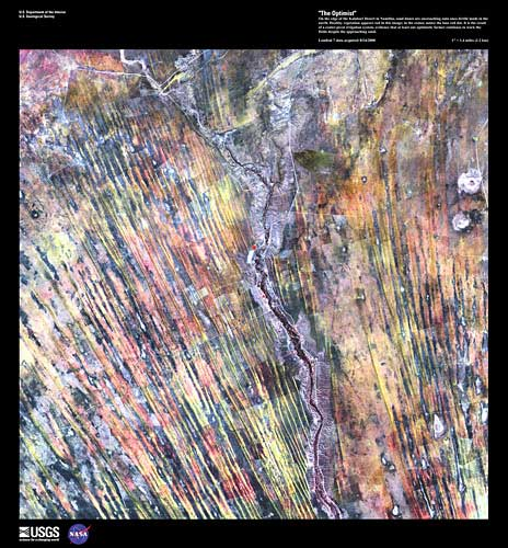 """Satellite image of portion of earth from space. From the United States Geological Survey's """"Earth as Art"""" Series."""