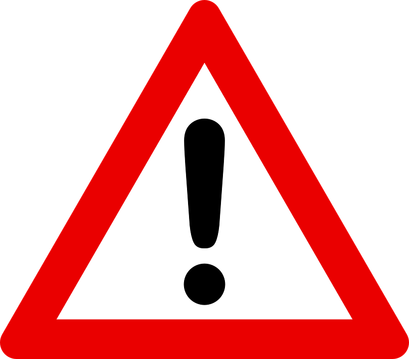 STOP: Red Triangle with Exclamation Sign
