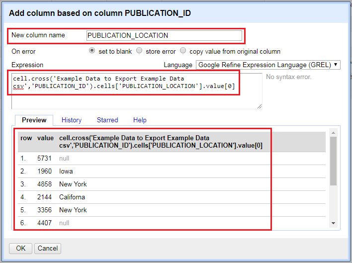 Google Refine Expression Language box for adding a column based on a column