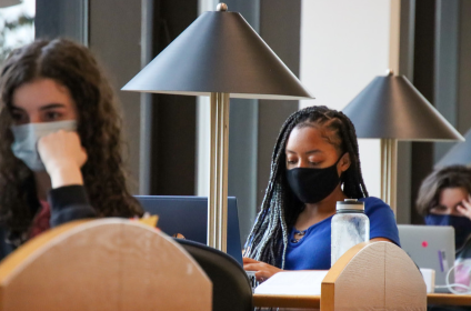 Students with masks studying at the library-photo credit to Madison Thomas 11-10-20