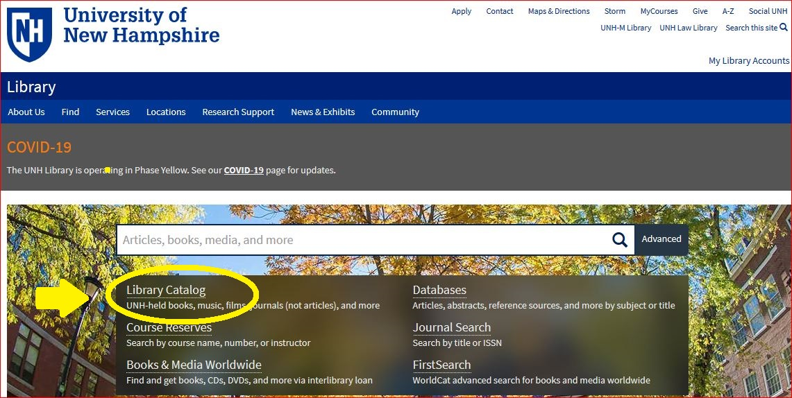 UNH Library home page with Catalog link circled.