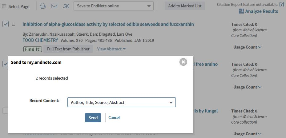 Image of Send to EndNote online button in Web of Science database