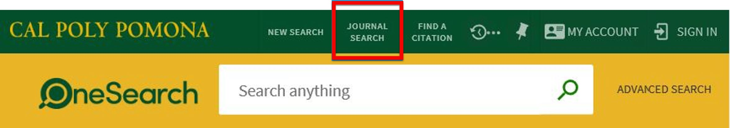 Journal Search button in OneSearch