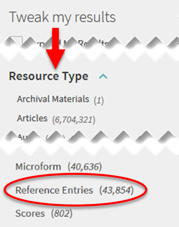 Resource Type filter in OneSearch, for Reference Entries