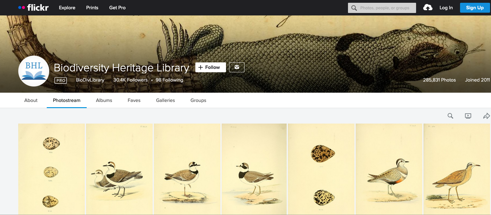 Biodiversity Heritage Library home page on Flickr