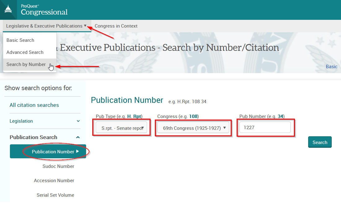 Image of ProQuest Congressional Hearings Search by Number page
