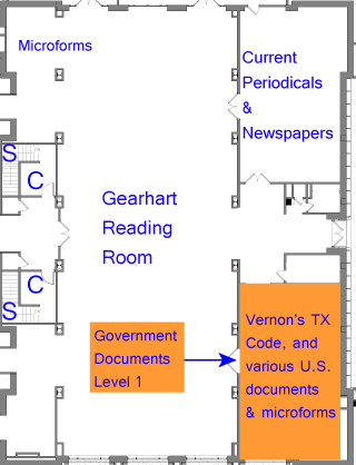 Maps of  levels of the government document stacks