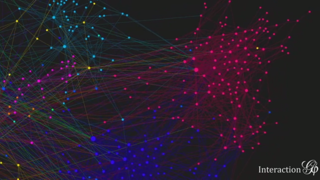 Network visualization from Gephi, blue pink and yellow nodes on a black field connected by multi-colored lines