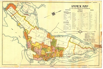 Historical index map of the island of Montreal.