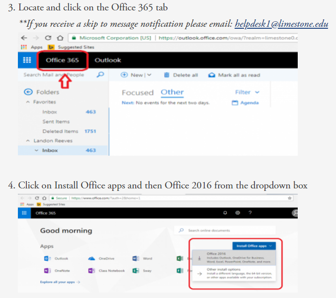 image with directions on how to install Office 365