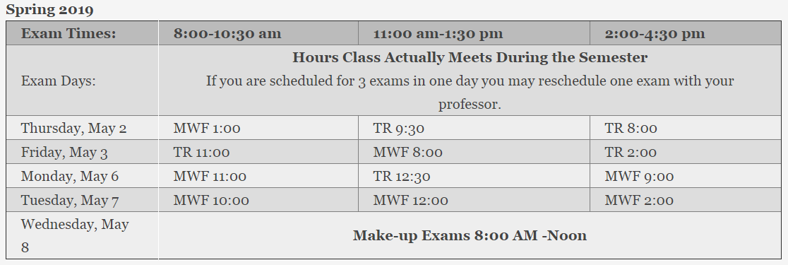 Click on this image to access the current exam schedules at Limestone College.