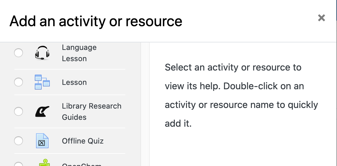 Library Research Guides resource in Moodle