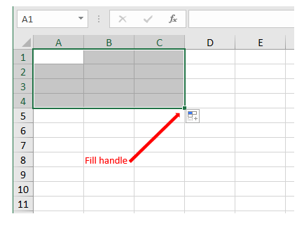 Image of fill handle in Excel.