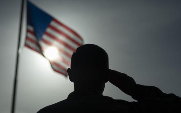 Silhouette of a service member saluting a flag.