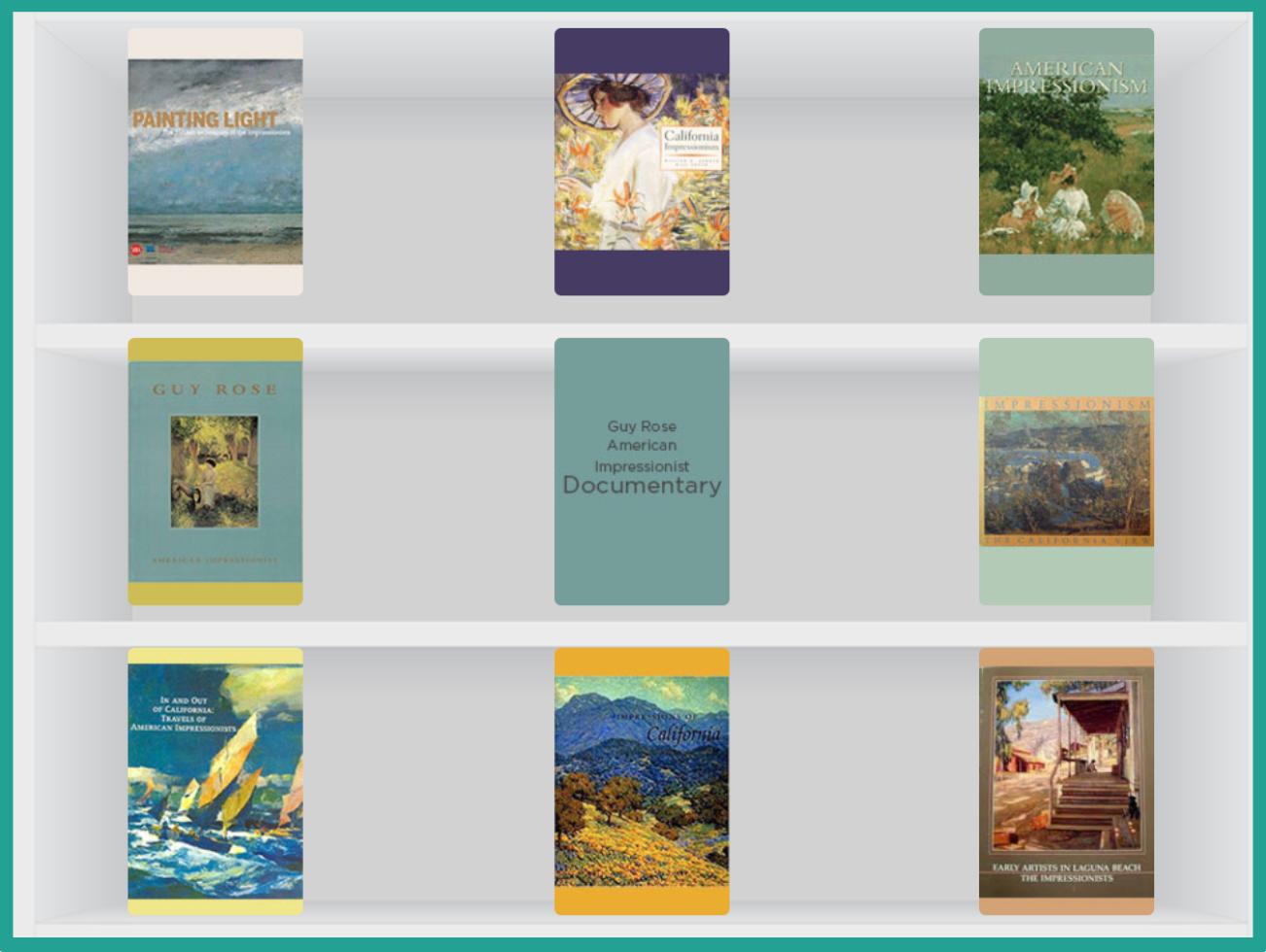 white bookshelf with art book covers