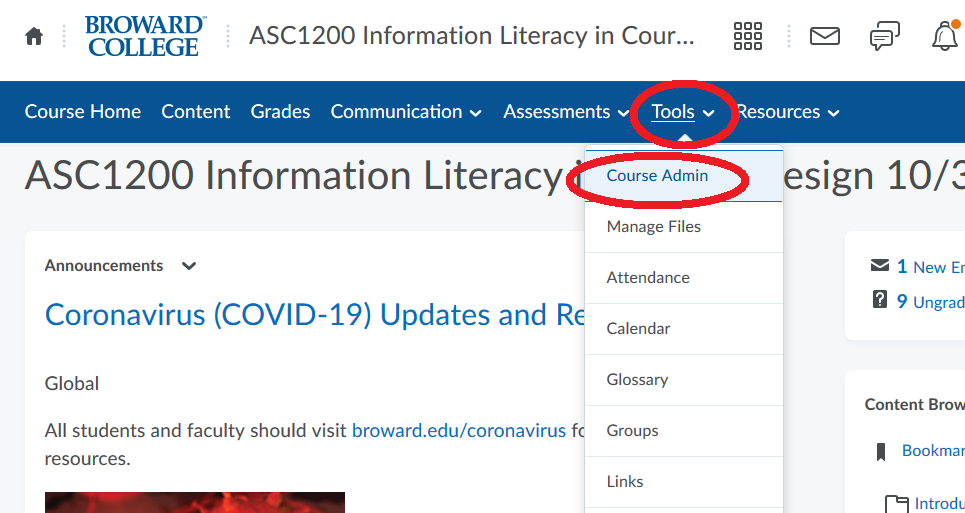 Go to Tools then Course Admin