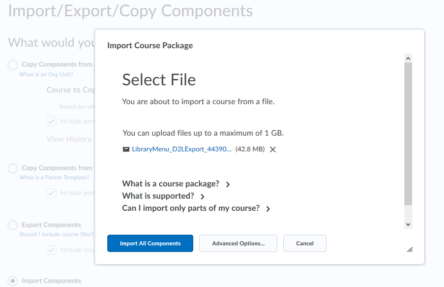 Upload the zip file for the Library Research Menu