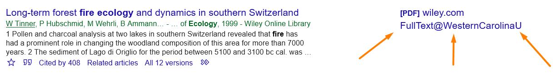 Google Scholar citation result with orange arrows pointing to FullText@WesternCarolinaU link.