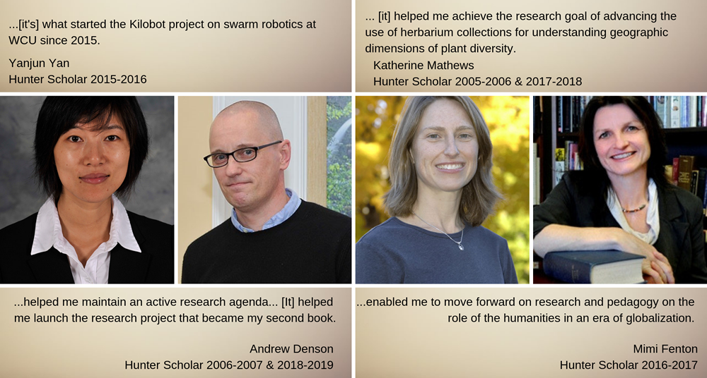 4 recent Hunter Scholars with quotes about meaningfulness of the award.