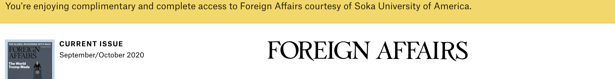 Foreign Affairs banner image