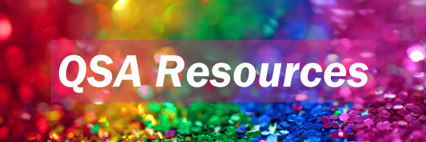 rainbow of sequins with link for Queer Straight Alliance resources page