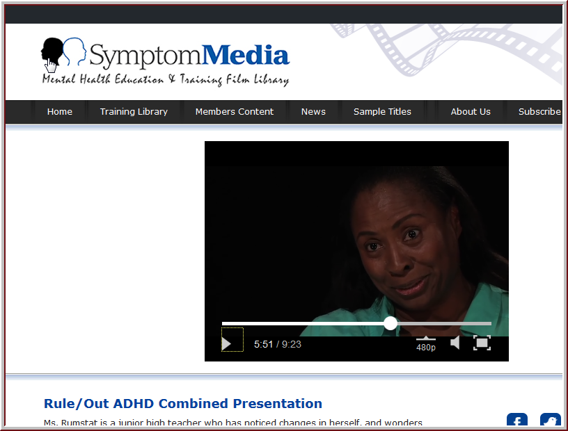 Symptom media screen capture