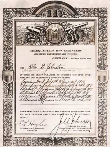 Olin D. Johnston Commendation, American Expeditionary Forces, 1919
