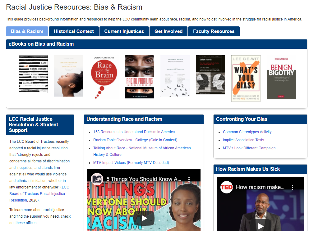 Homepage of racial justice resources guide