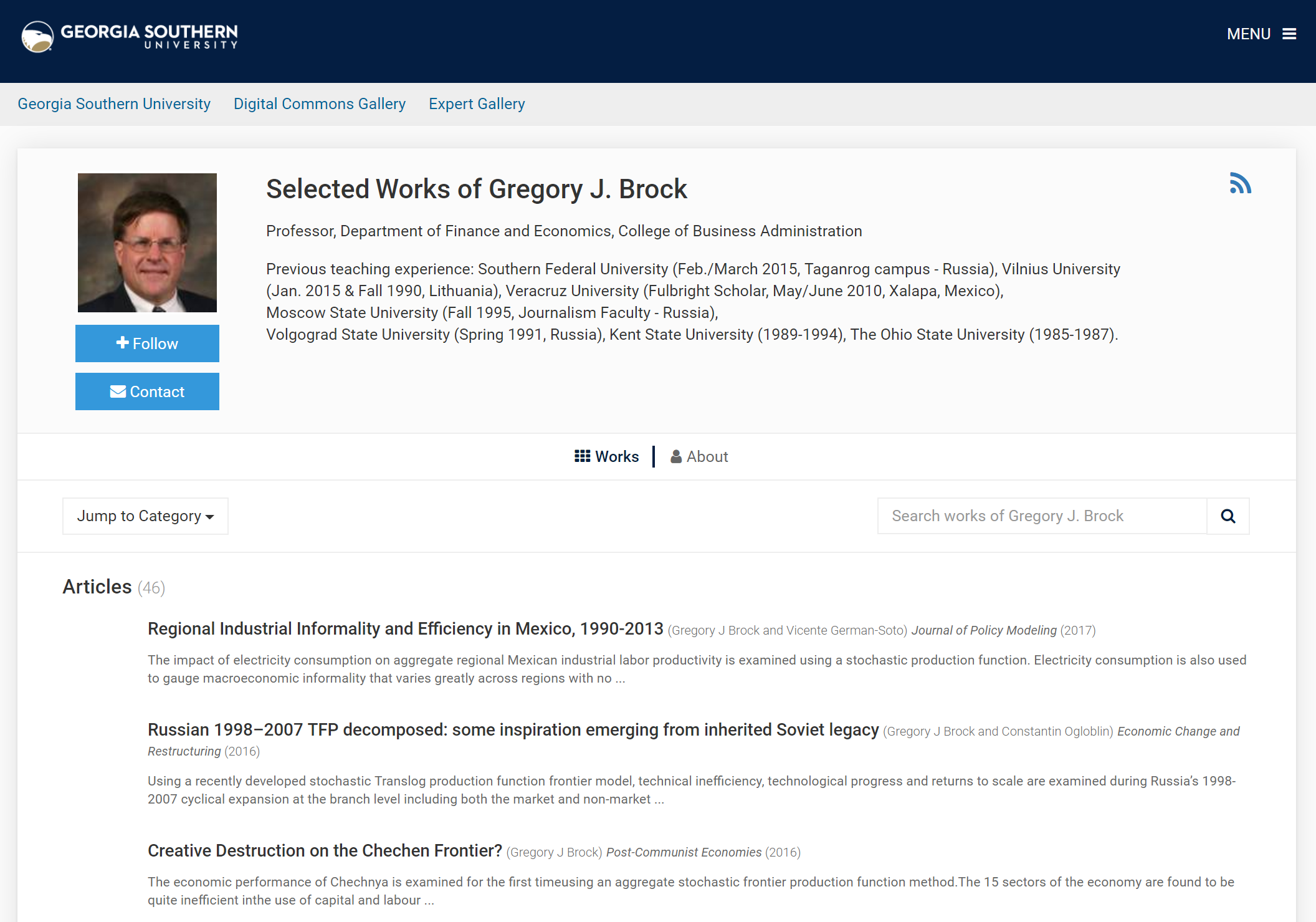 SelectedWorks Profile