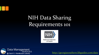 NIH Data Sharing Requirements 101
