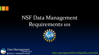 Data Management Tutorial: NSF Data Management Requirements 101