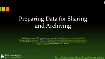 Data Management Tutorial: Preparing Data for Sharing & Archiving