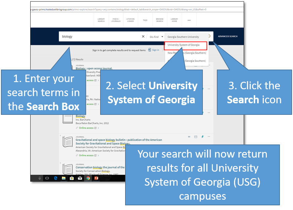 GIL-Find - Change Scope to all USG campuses