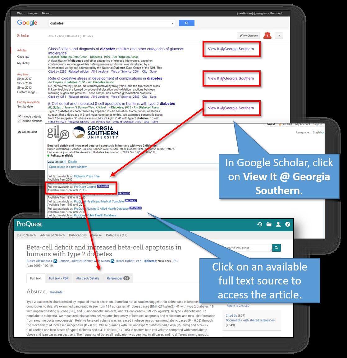 Screenshots of Library Links in Google Scholar