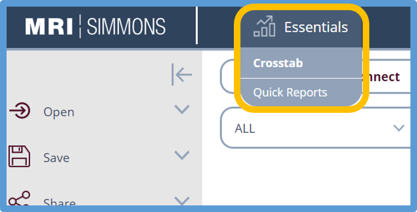 switch to quick reports from essentials button