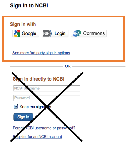 Sign in to NCBI with 3rd party sign in options