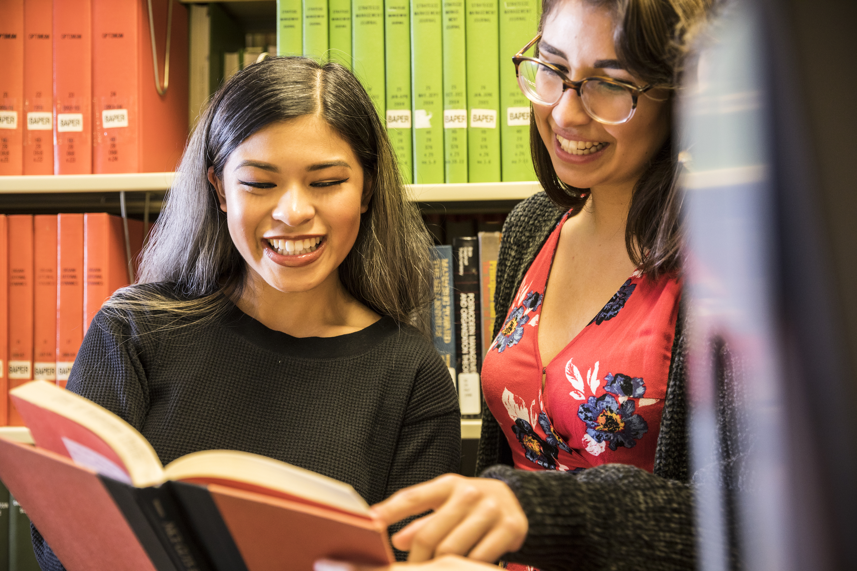 students in foster library