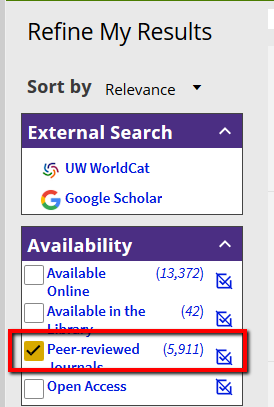 "Detail of UW Libraries Search results, showing the filter for ""Peer Reviewed Journals"""