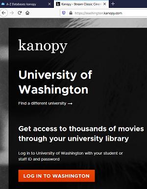 Kanopy login screen shot