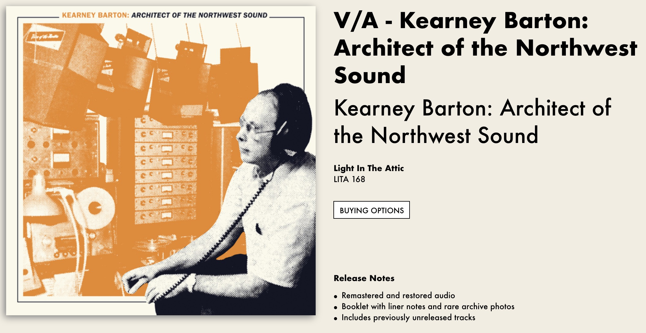 Record cover for the LP Architect of the Northwest Sound by Kearney Barton
