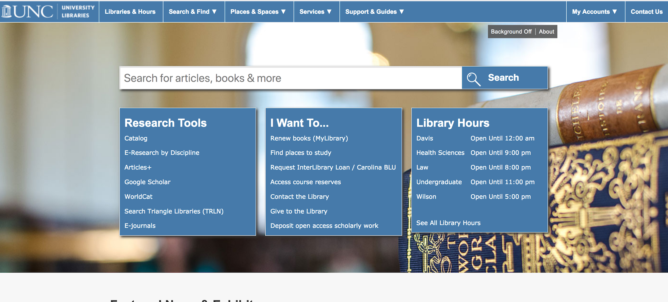 UNC Chapel Hill Libraries home page