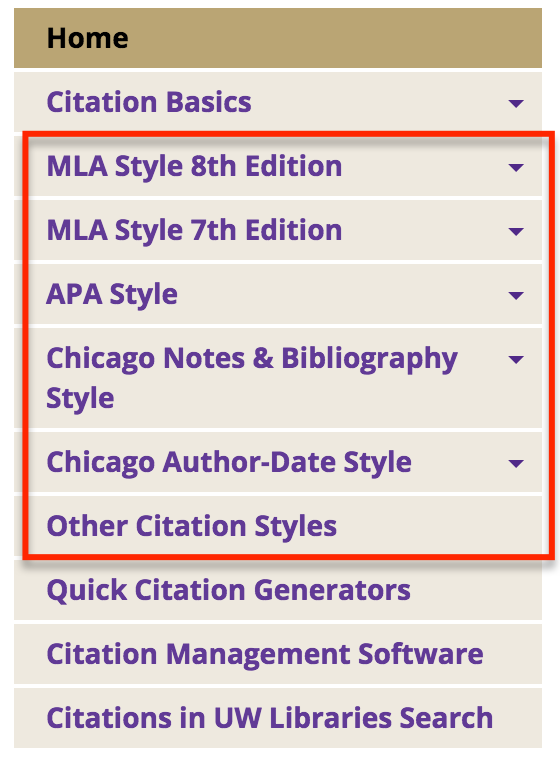 Menu of citation offerings reading MLA Style 8th edition, mla style 7th edition, APA style, Chicago Notes & bibliography Style, Chicago Author-Date Style, and Other Citation Styles