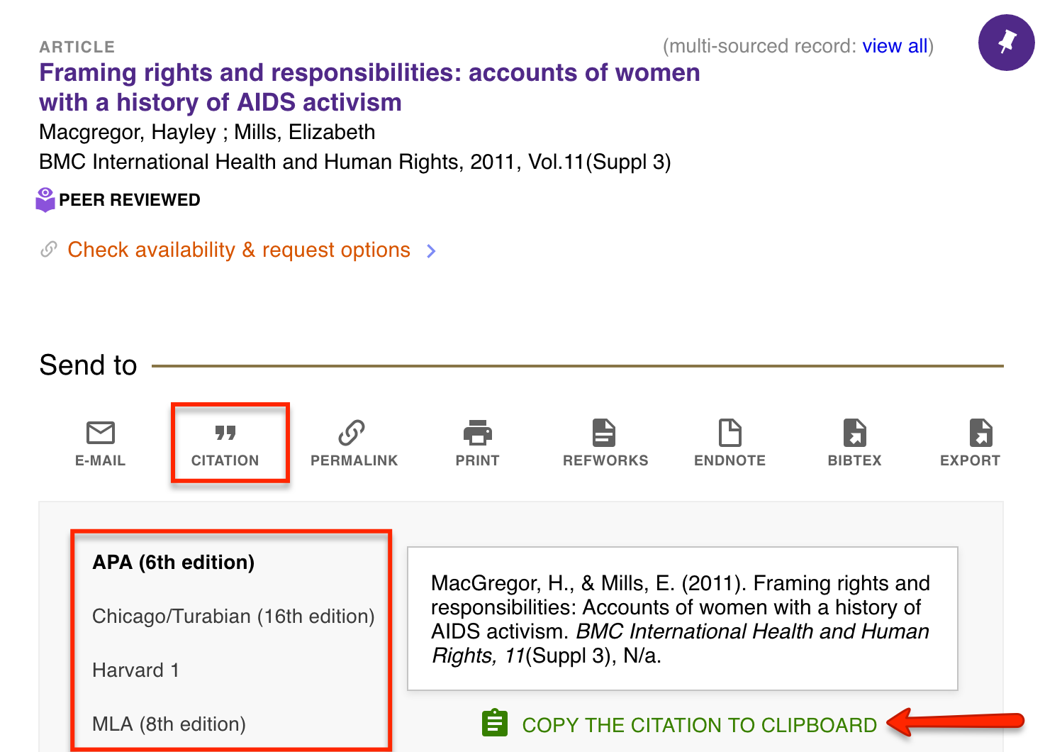 View of article in UW Libraries catalog showing how to use the citation icon to copy a citation to clipboard. Citation options shows are APA 6th edition, Chicago/Turabian 16th edition, Harvard 1 and MLA 8th edition