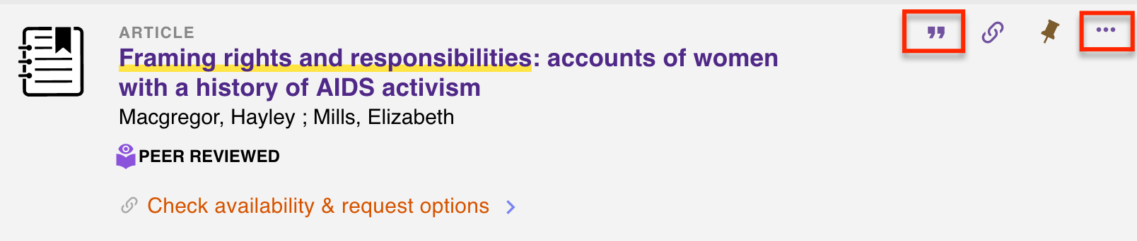 view of article in UW Libraries catalog. In righthand corner of item, a red box is shown highlighting the quotation mark icon and the three dots icon