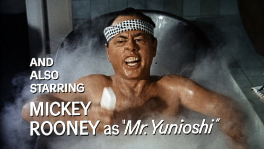 "And Also Starring Mickey Rooney as ""Mr. Yunioshi"" Breakfast at tiffany's Film Still"