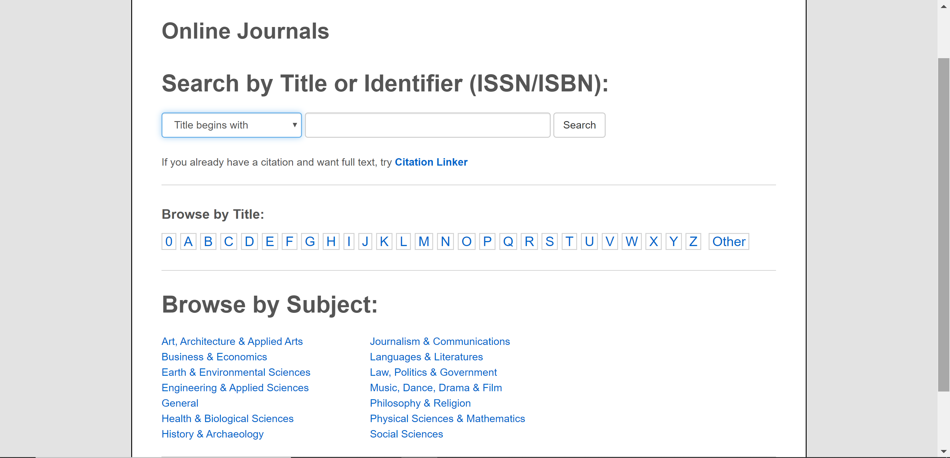 Image of online journals search tool