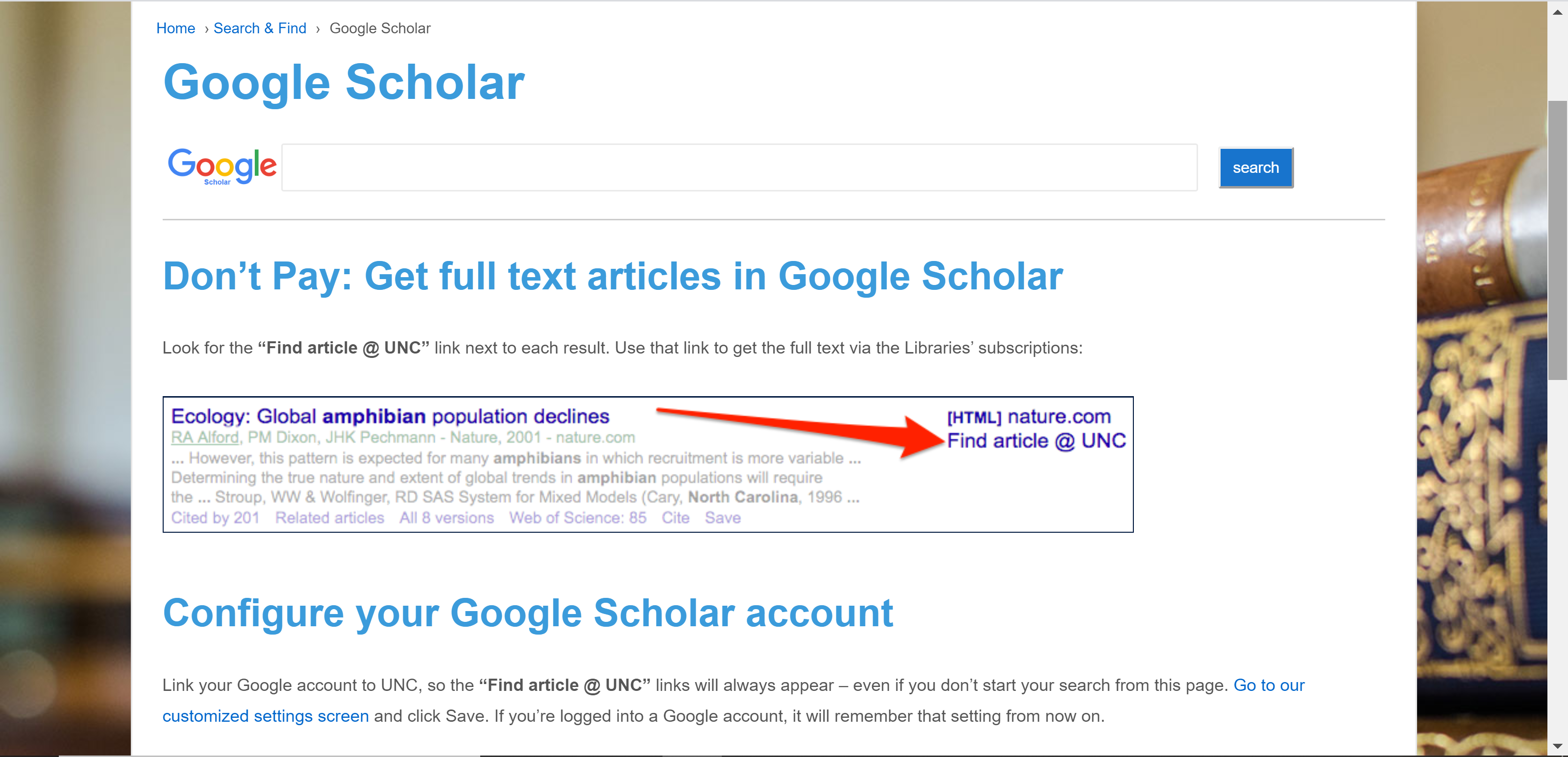 Google scholar page on UNC library website